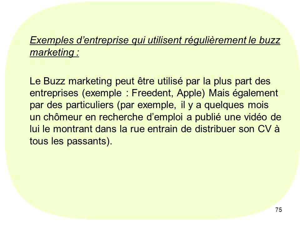 Exemples d'entreprise qui utilisent régulièrement le buzz marketing :