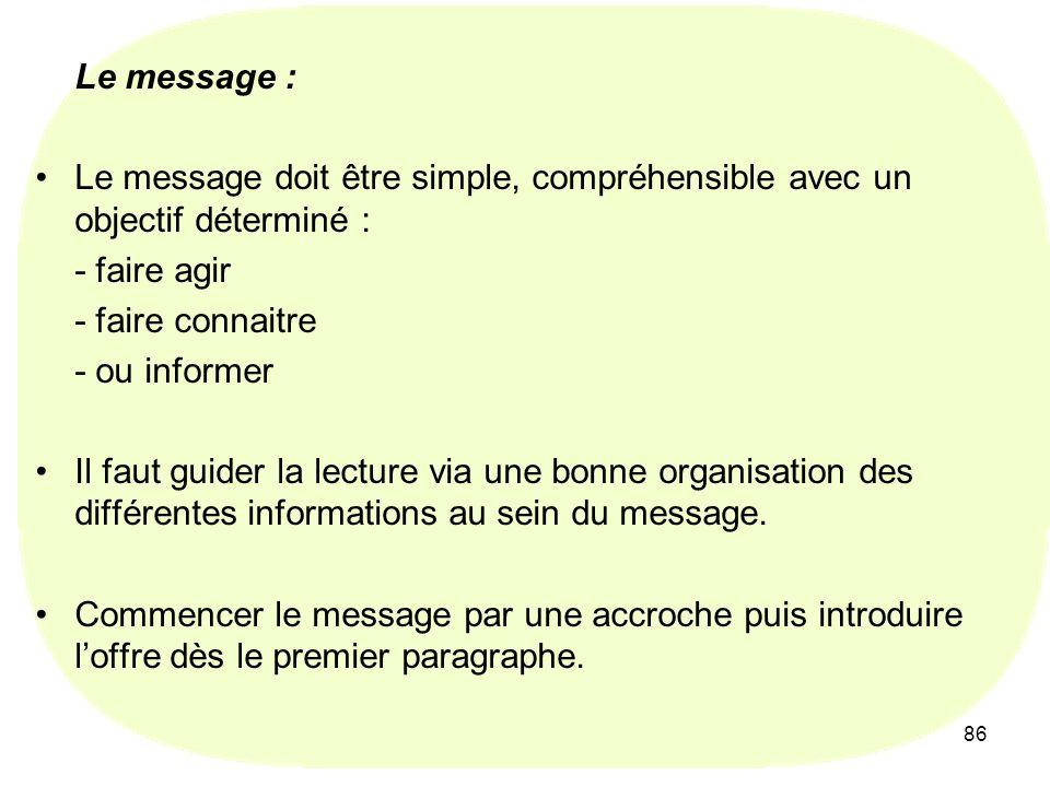 Le message : Le message doit être simple, compréhensible avec un objectif déterminé : - faire agir.