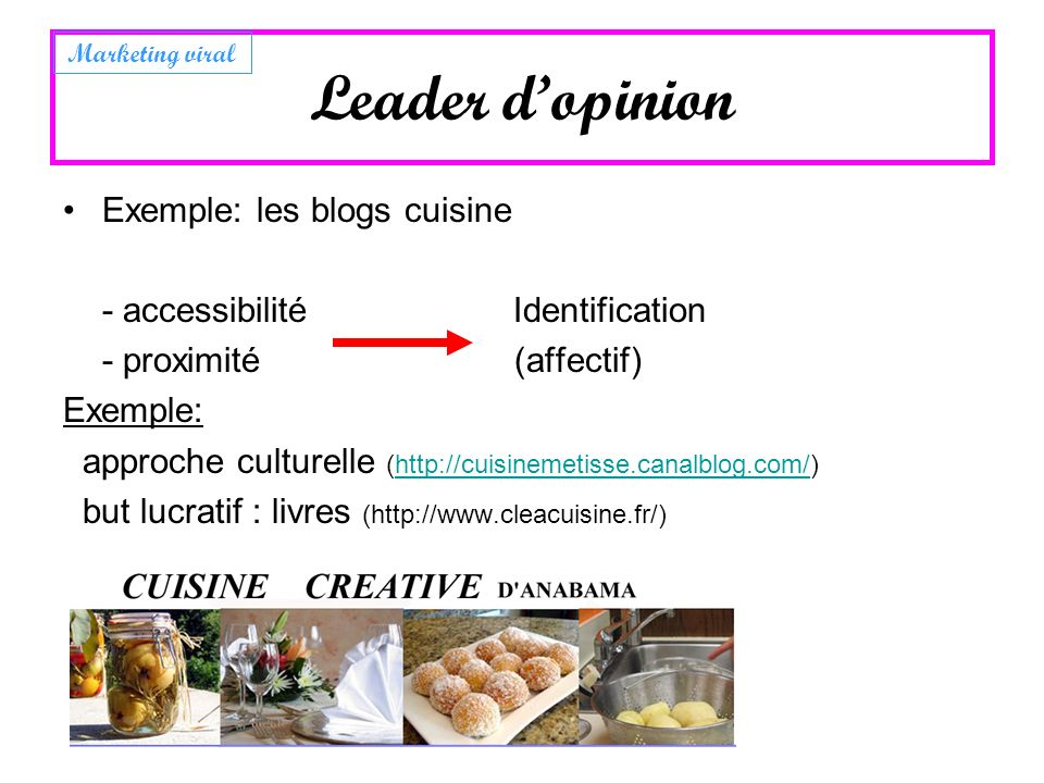 Leader d'opinion Exemple: les blogs cuisine