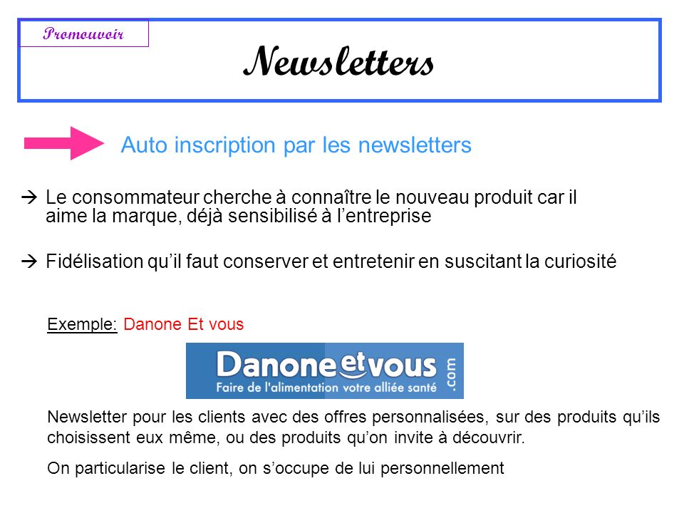 Newsletters Auto inscription par les newsletters