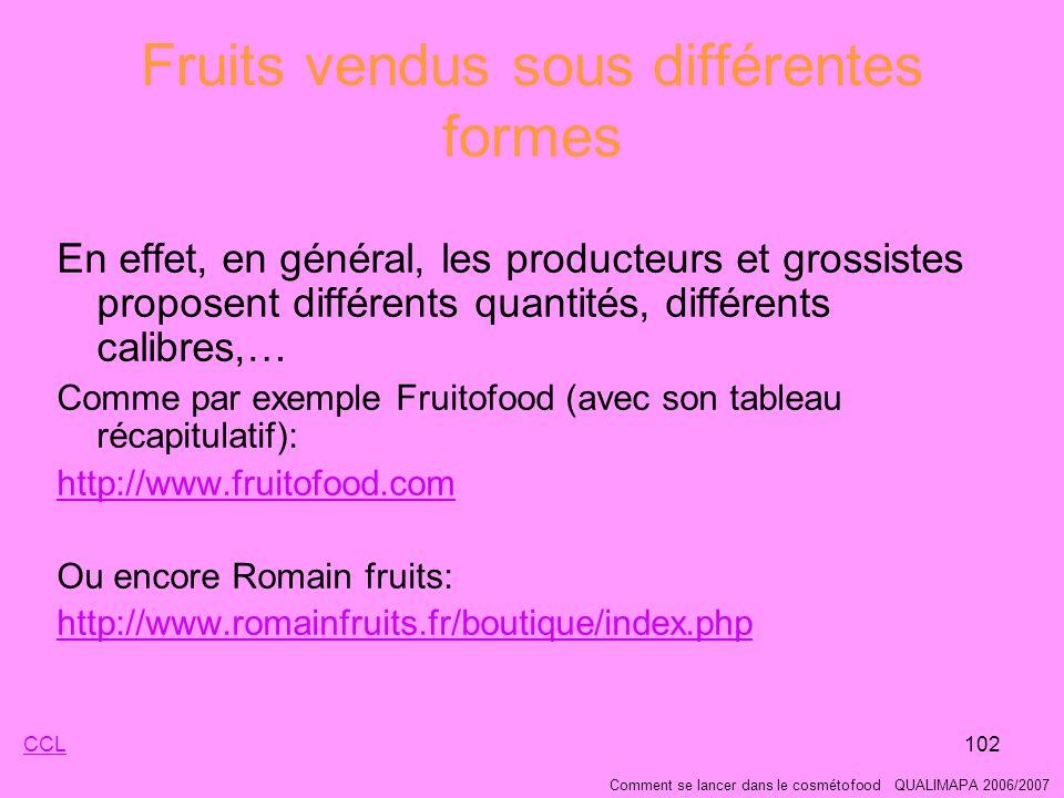 Fruits vendus sous différentes formes