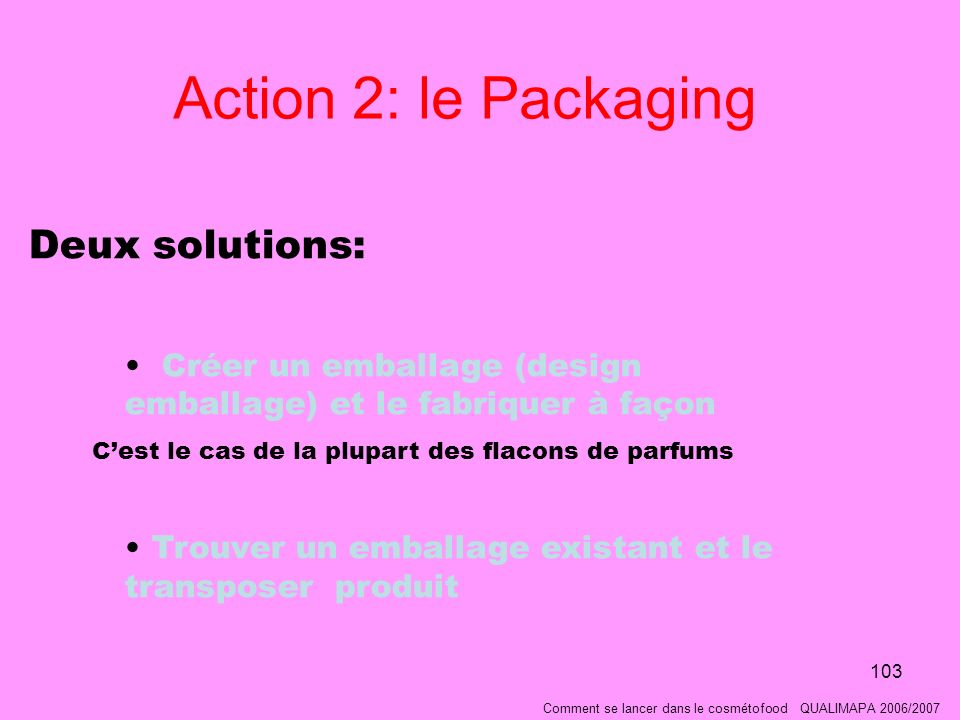 Action 2: le Packaging Deux solutions: