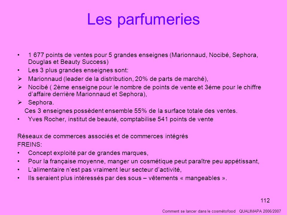 Les parfumeries 1 677 points de ventes pour 5 grandes enseignes (Marionnaud, Nocibé, Sephora, Douglas et Beauty Success)