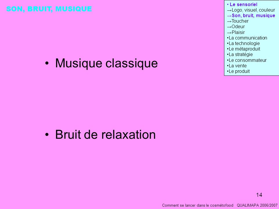 Musique classique Bruit de relaxation SON, BRUIT, MUSIQUE Le sensoriel