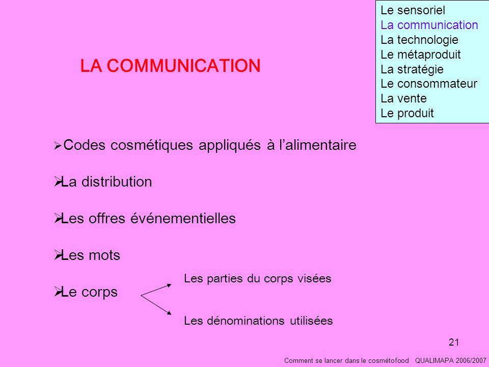 LA COMMUNICATION La distribution Les offres événementielles Les mots