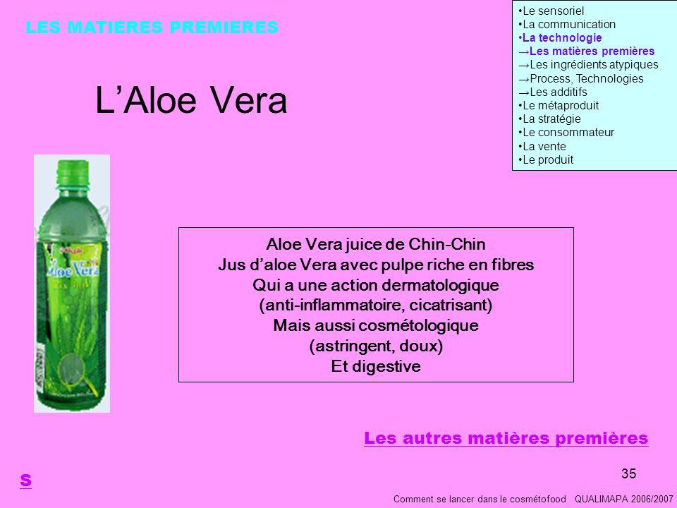 L'Aloe Vera LES MATIERES PREMIERES Aloe Vera juice de Chin-Chin