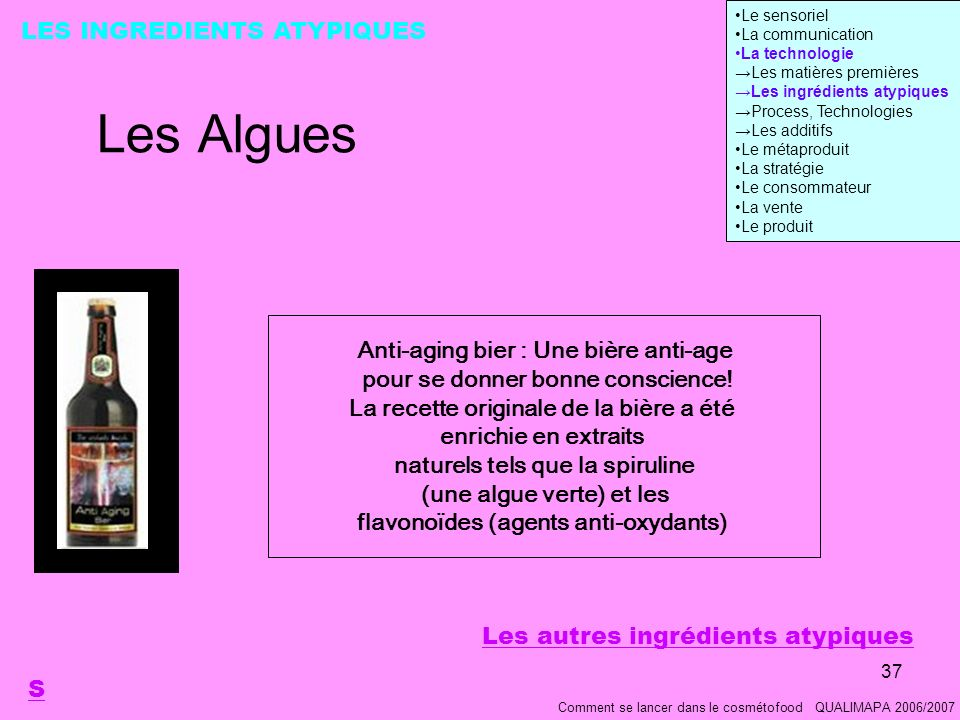 Les Algues LES INGREDIENTS ATYPIQUES