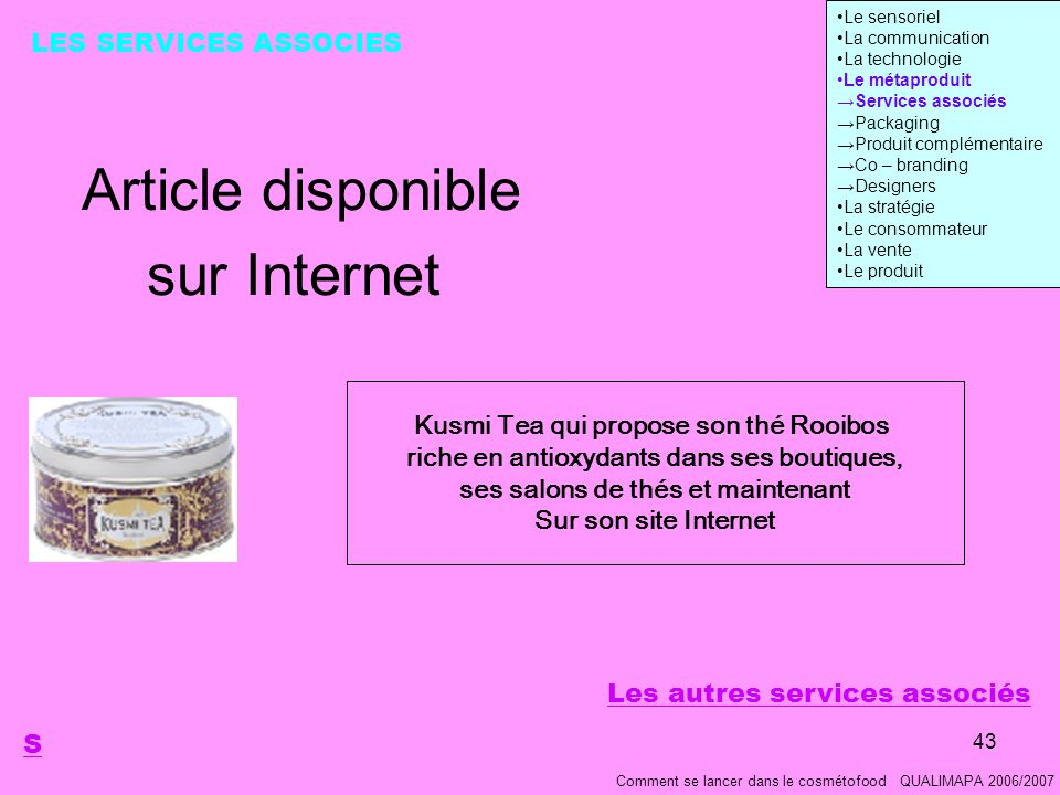 Article disponible sur Internet LES SERVICES ASSOCIES