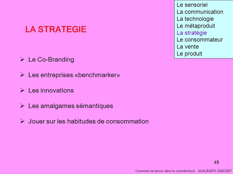 LA STRATEGIE Le Co-Branding Les entreprises «benchmarker»