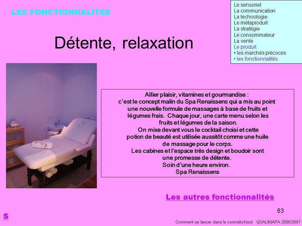 Détente, relaxation LES FONCTIONNALITES Les autres fonctionnalités S