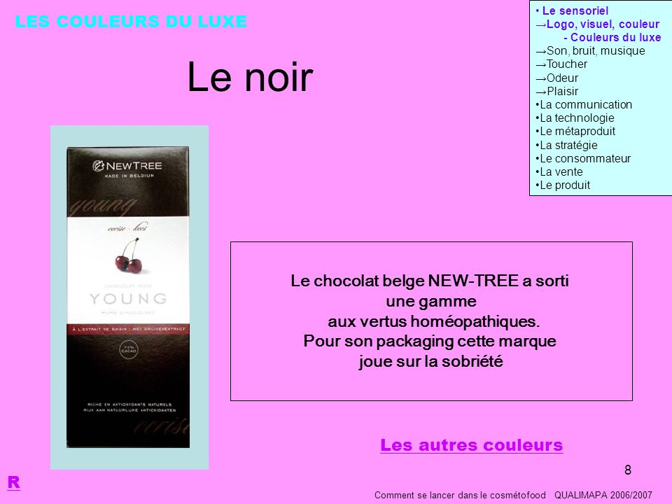 Le noir LES COULEURS DU LUXE Le chocolat belge NEW-TREE a sorti