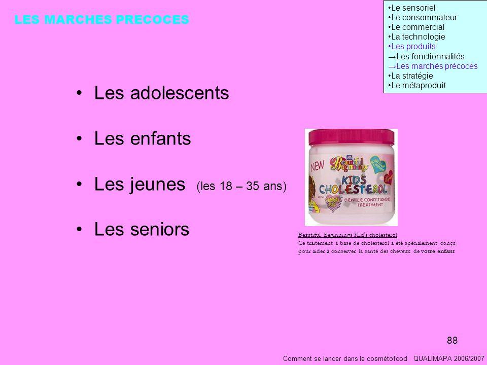 Les adolescents Les enfants Les jeunes (les 18 – 35 ans) Les seniors