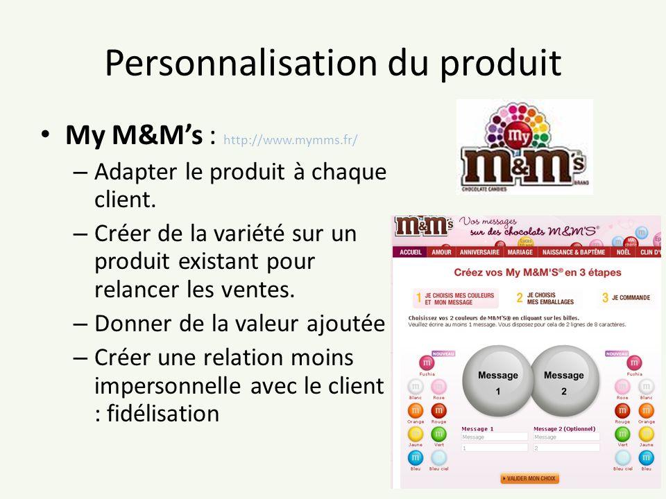 Personnalisation du produit