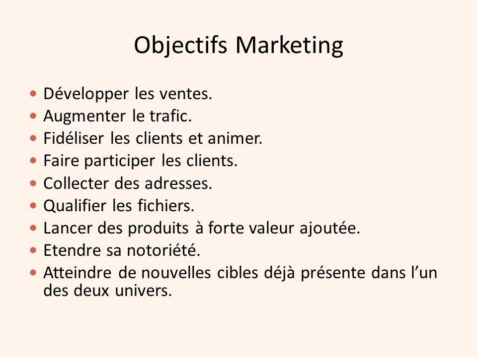 Objectifs Marketing Développer les ventes. Augmenter le trafic.