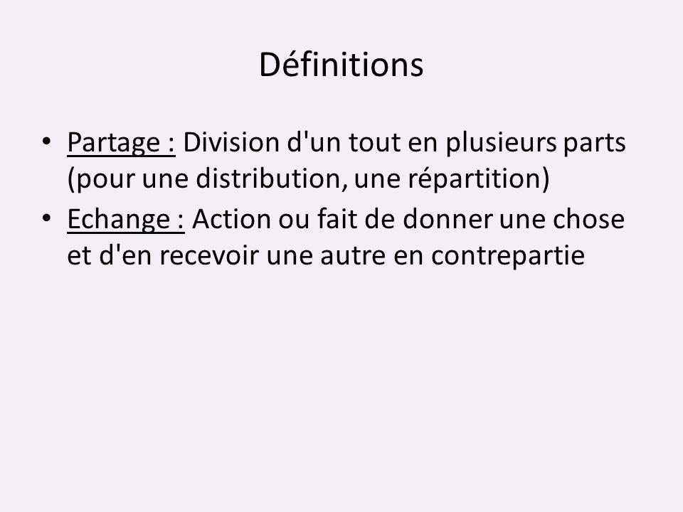 Définitions Partage : Division d un tout en plusieurs parts (pour une distribution, une répartition)