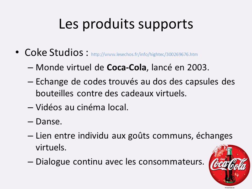 Les produits supports Coke Studios : http://www.lesechos.fr/info/hightec/300269676.htm. Monde virtuel de Coca-Cola, lancé en 2003.