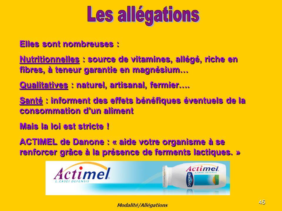 Modalité/Allégations