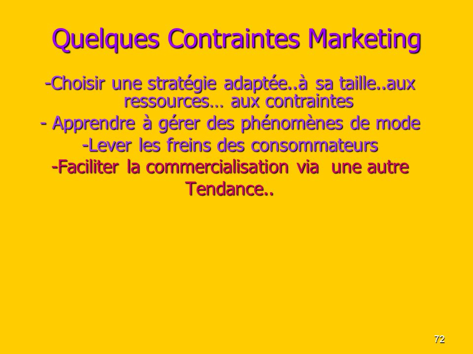 Quelques Contraintes Marketing