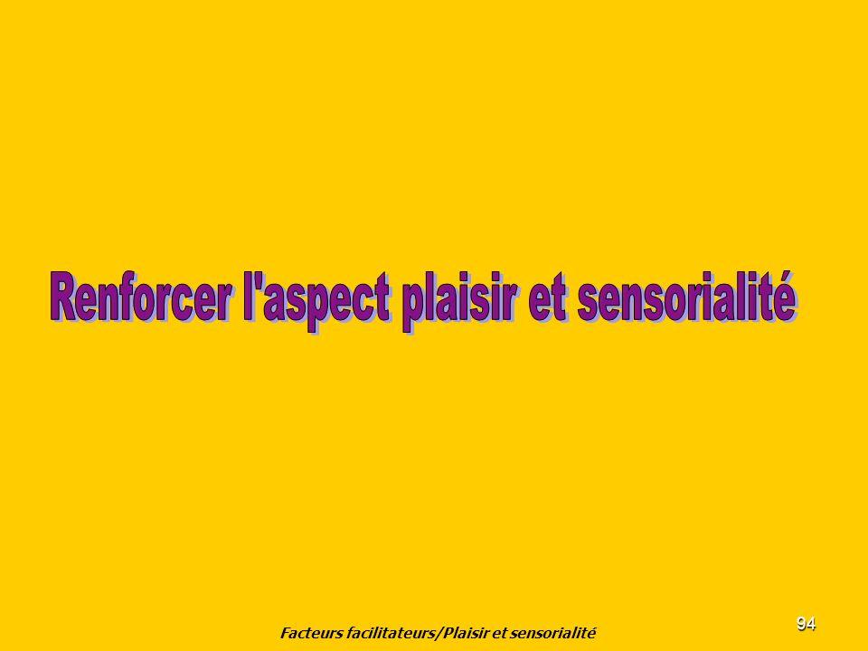 Facteurs facilitateurs/Plaisir et sensorialité