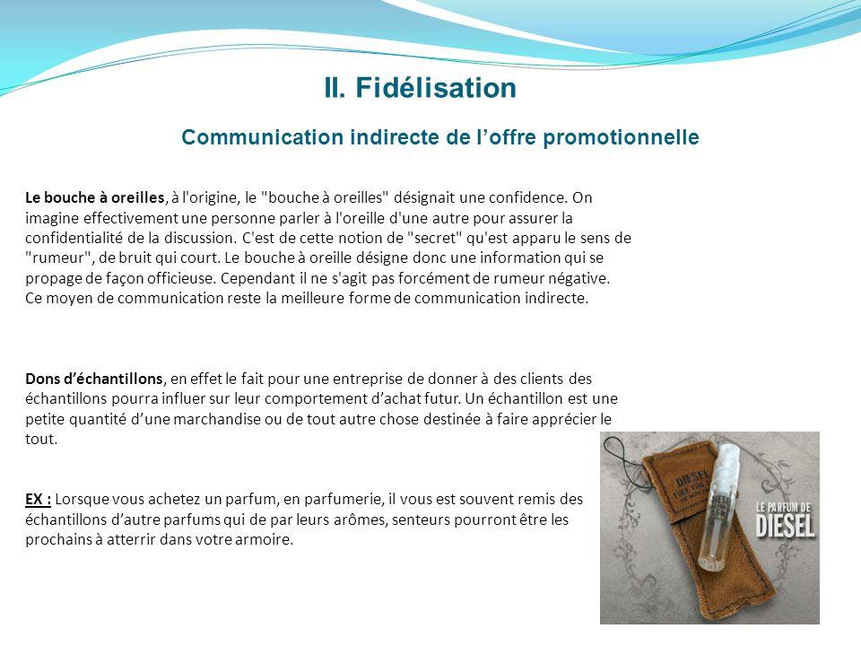 Communication indirecte de l'offre promotionnelle