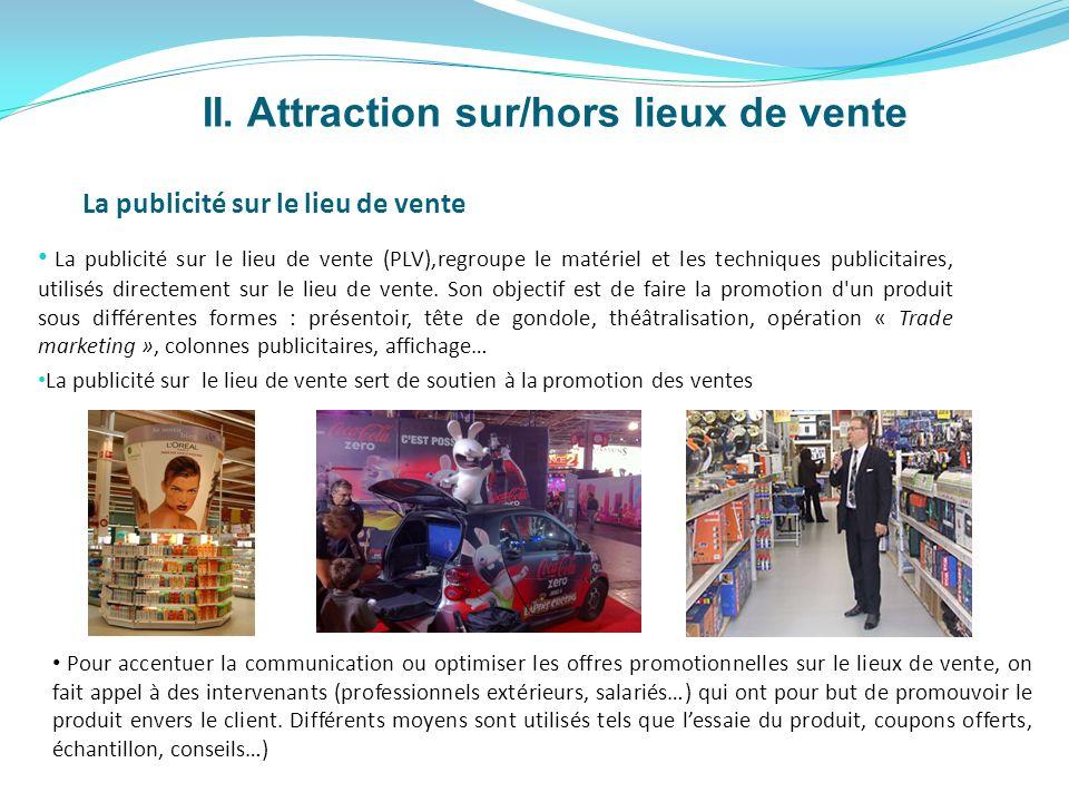 II. Attraction sur/hors lieux de vente