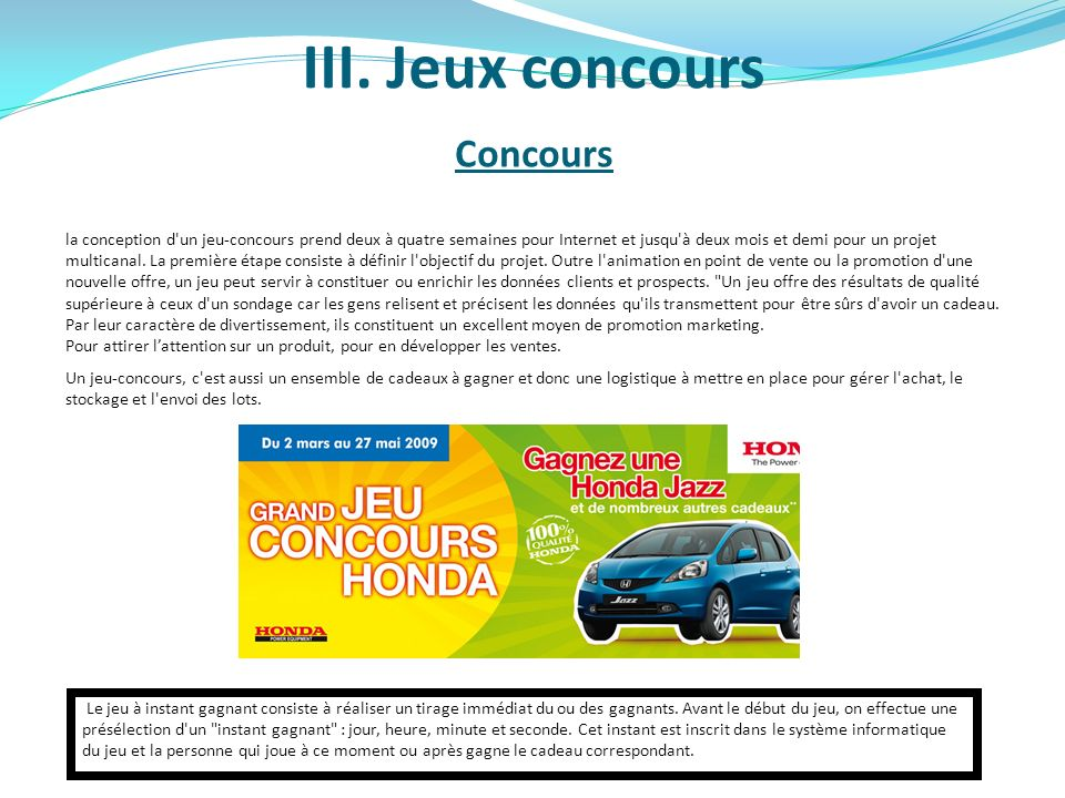 III. Jeux concours Concours