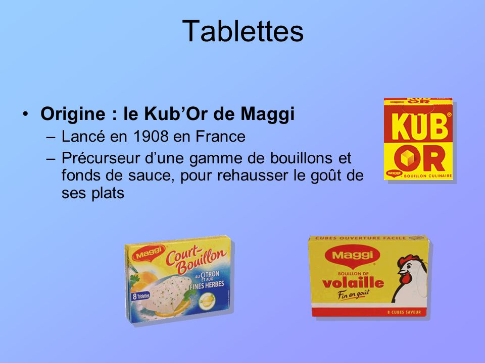 Tablettes Origine : le Kub'Or de Maggi Lancé en 1908 en France