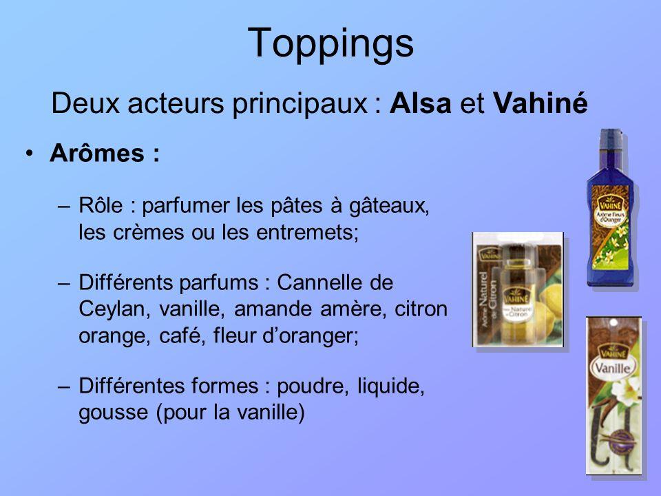 Toppings Deux acteurs principaux : Alsa et Vahiné Arômes :