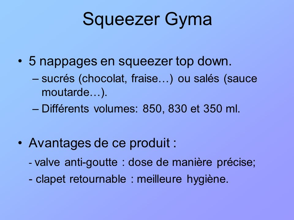 Squeezer Gyma 5 nappages en squeezer top down.
