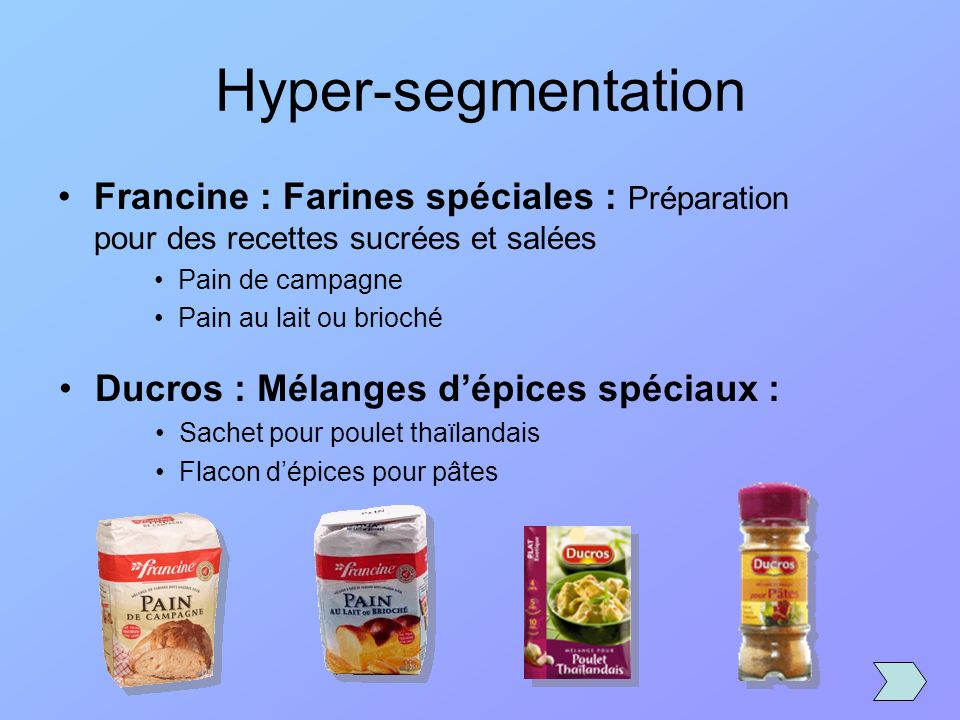 Hyper-segmentation Francine : Farines spéciales : Préparation pour des recettes sucrées et salées. Pain de campagne.