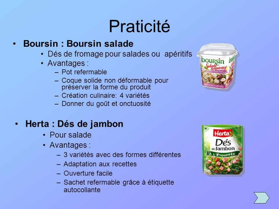Praticité Boursin : Boursin salade Herta : Dés de jambon