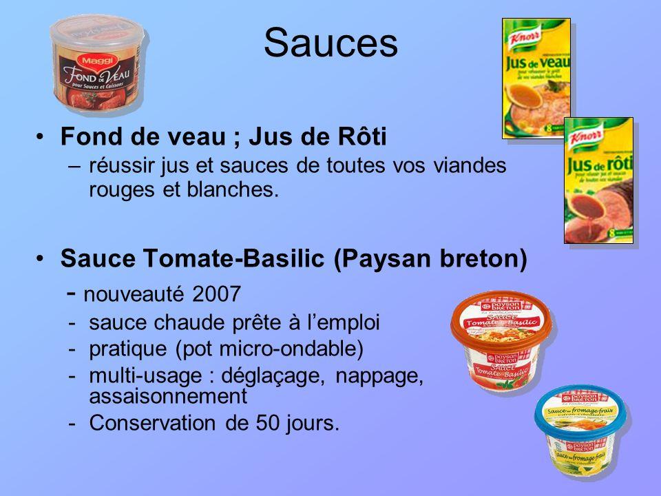 Sauces Fond de veau ; Jus de Rôti Sauce Tomate-Basilic (Paysan breton)