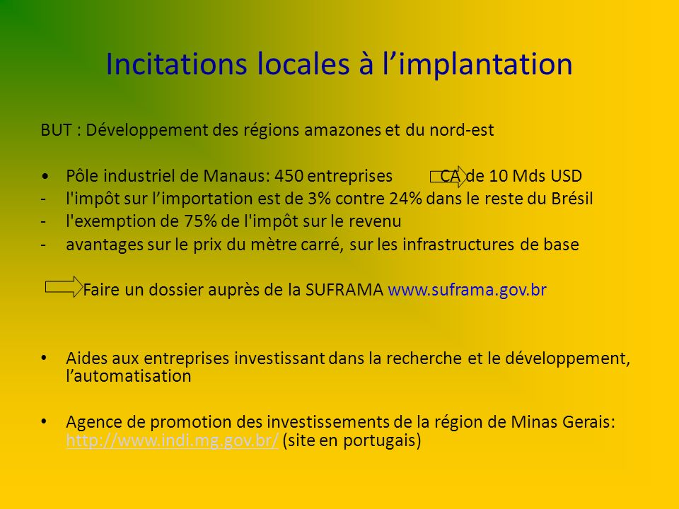 Incitations locales à l'implantation