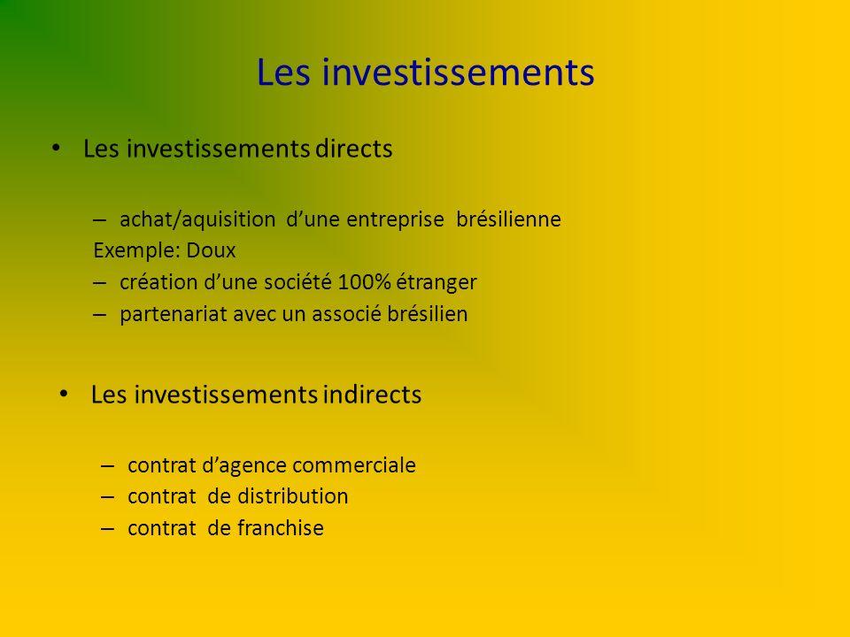 Les investissements Les investissements directs