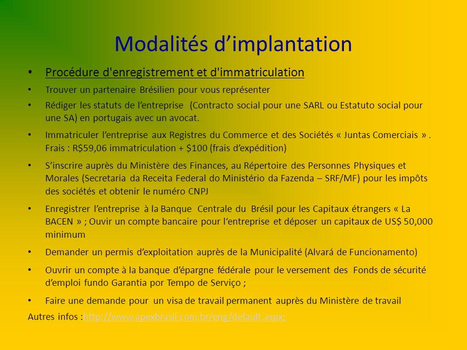 Modalités d'implantation