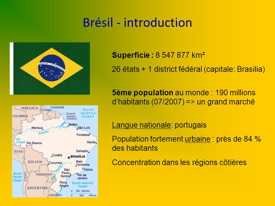 Brésil - introduction Superficie : 8 547 877 km²