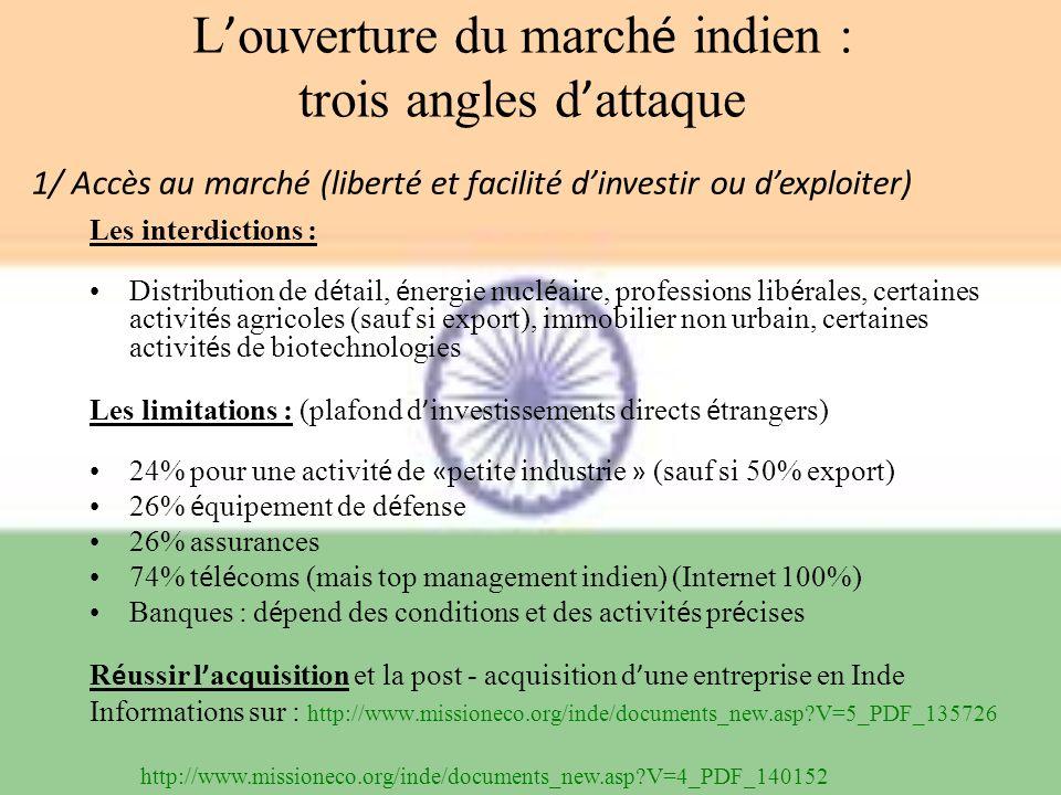 L'ouverture du marché indien : trois angles d'attaque