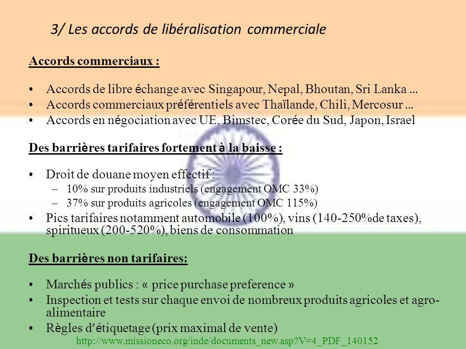 3/ Les accords de libéralisation commerciale