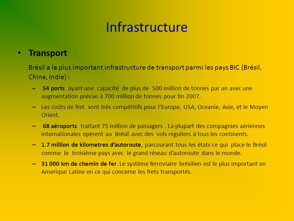 Infrastructure Transport