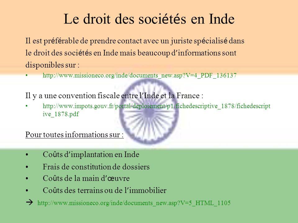 Le droit des sociétés en Inde