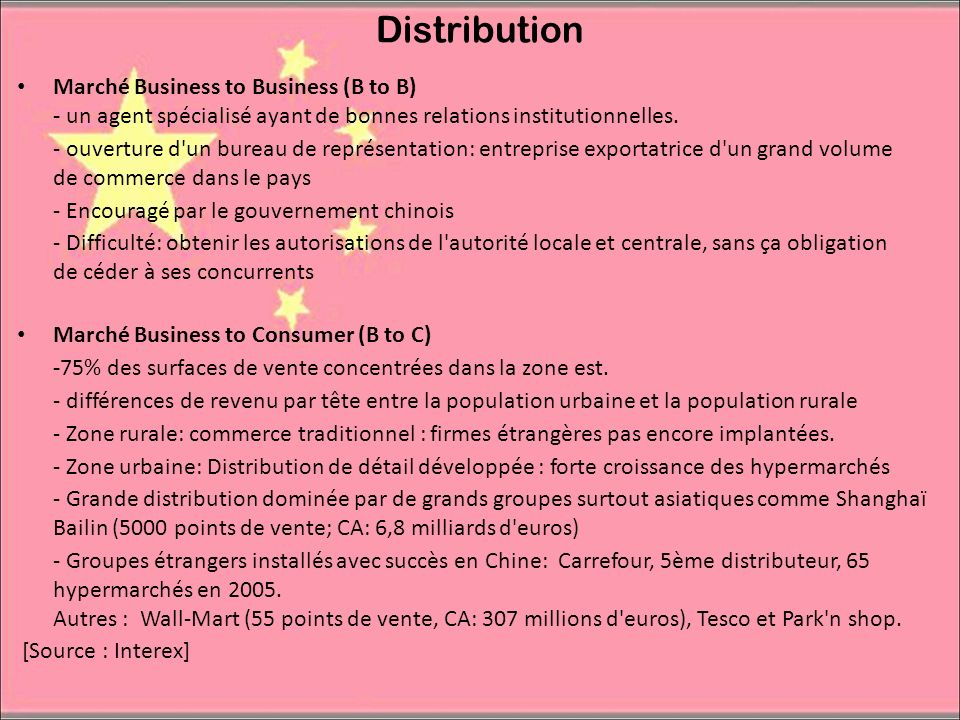 DistributionMarché Business to Business (B to B) - un agent spécialisé ayant de bonnes relations institutionnelles.