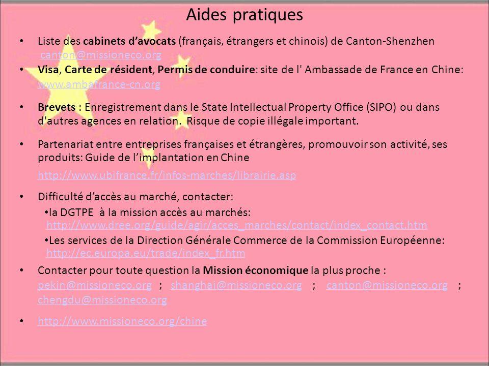 Aides pratiques Liste des cabinets d'avocats (français, étrangers et chinois) de Canton-Shenzhen. canton@missioneco.org.