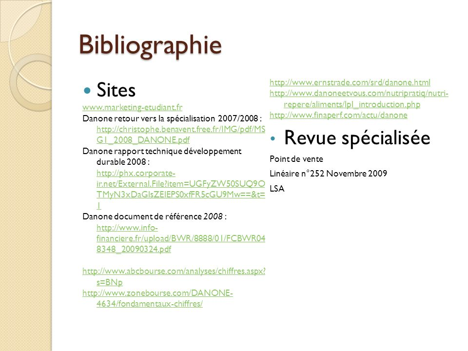 Bibliographie Sites Revue spécialisée