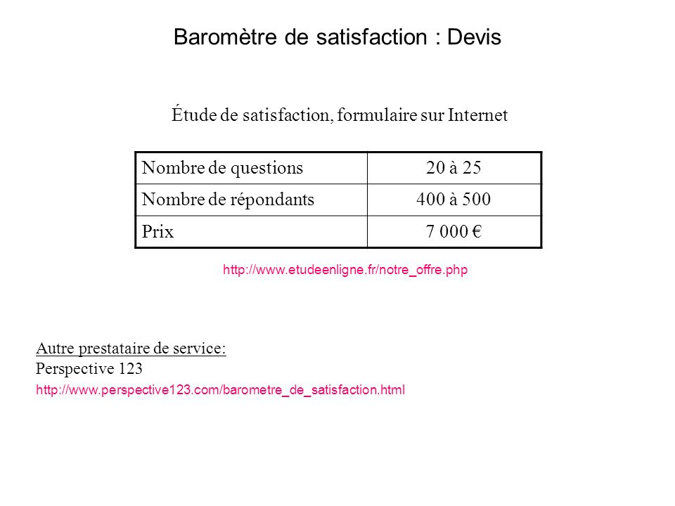 Baromètre de satisfaction : Devis