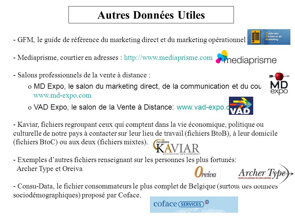 Autres Données Utiles GFM, le guide de référence du marketing direct et du marketing opérationnel.