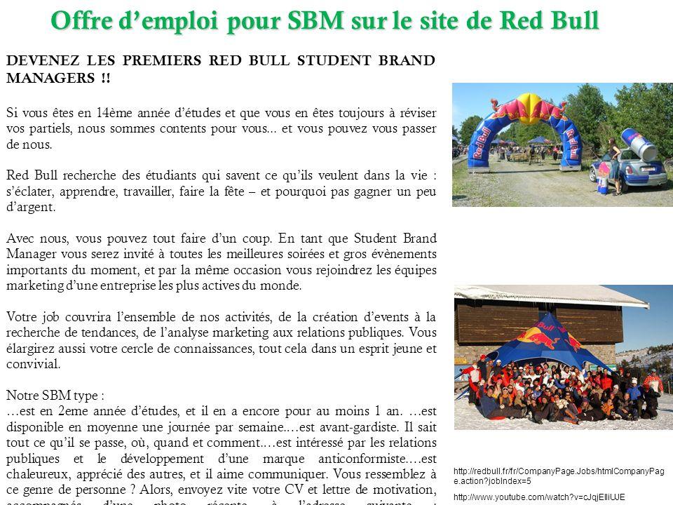 Offre d'emploi pour SBM sur le site de Red Bull