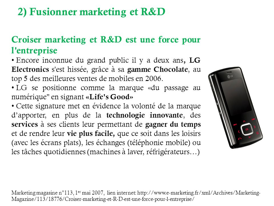 2) Fusionner marketing et R&D
