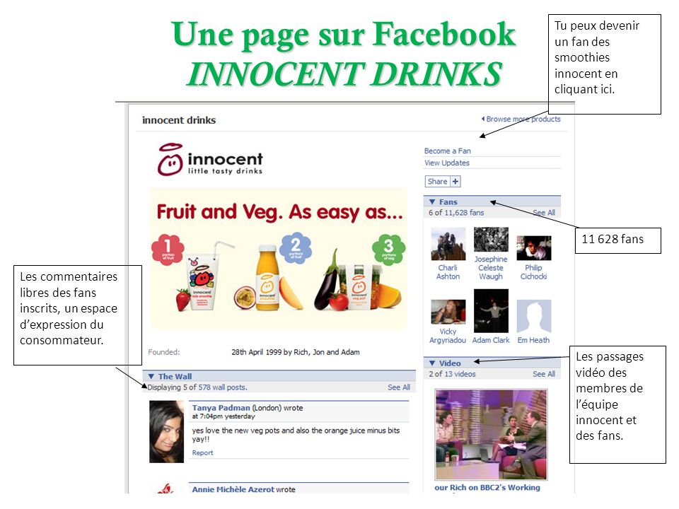 Une page sur Facebook INNOCENT DRINKS