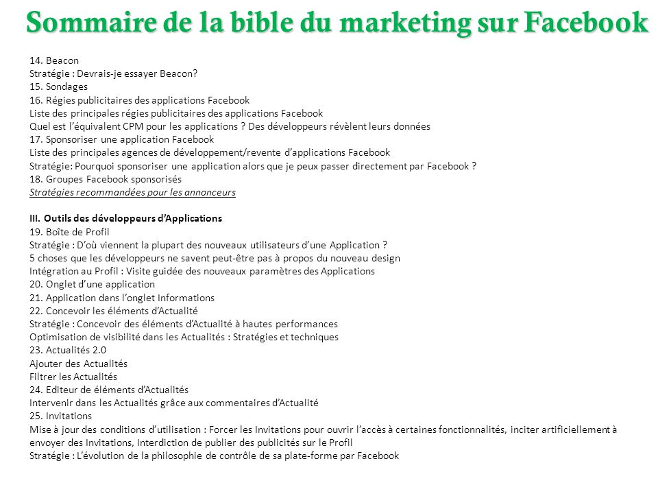 Sommaire de la bible du marketing sur Facebook