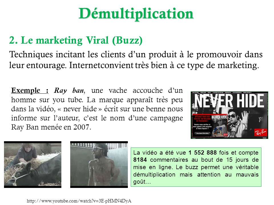 Démultiplication 2. Le marketing Viral (Buzz)